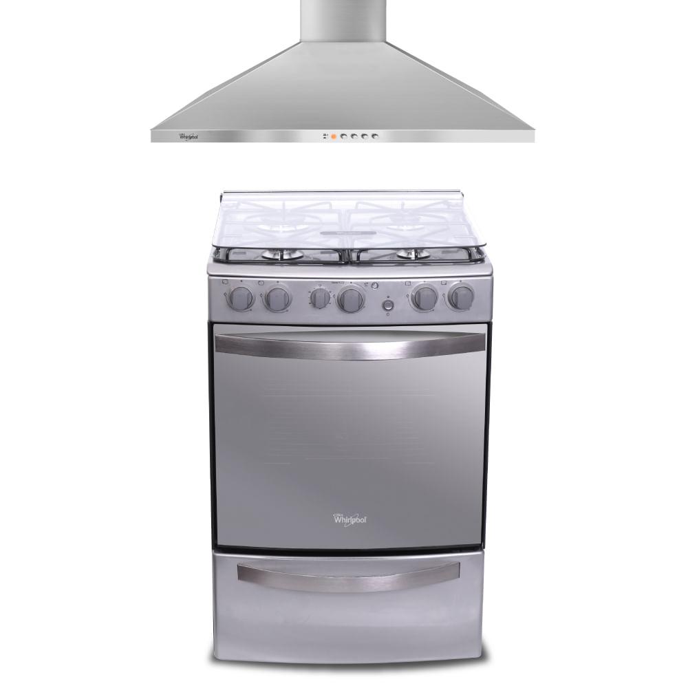 cocina con grill wfx56de y campana extractora whirlpool